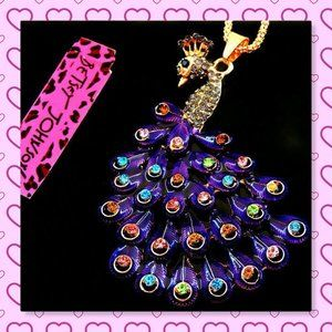 Betsey Johnson Purple Crystal Peacock Necklace